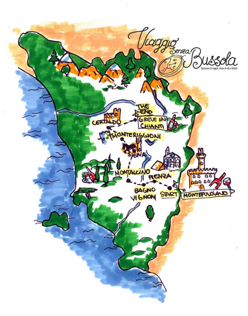 mappa itinerario toscana